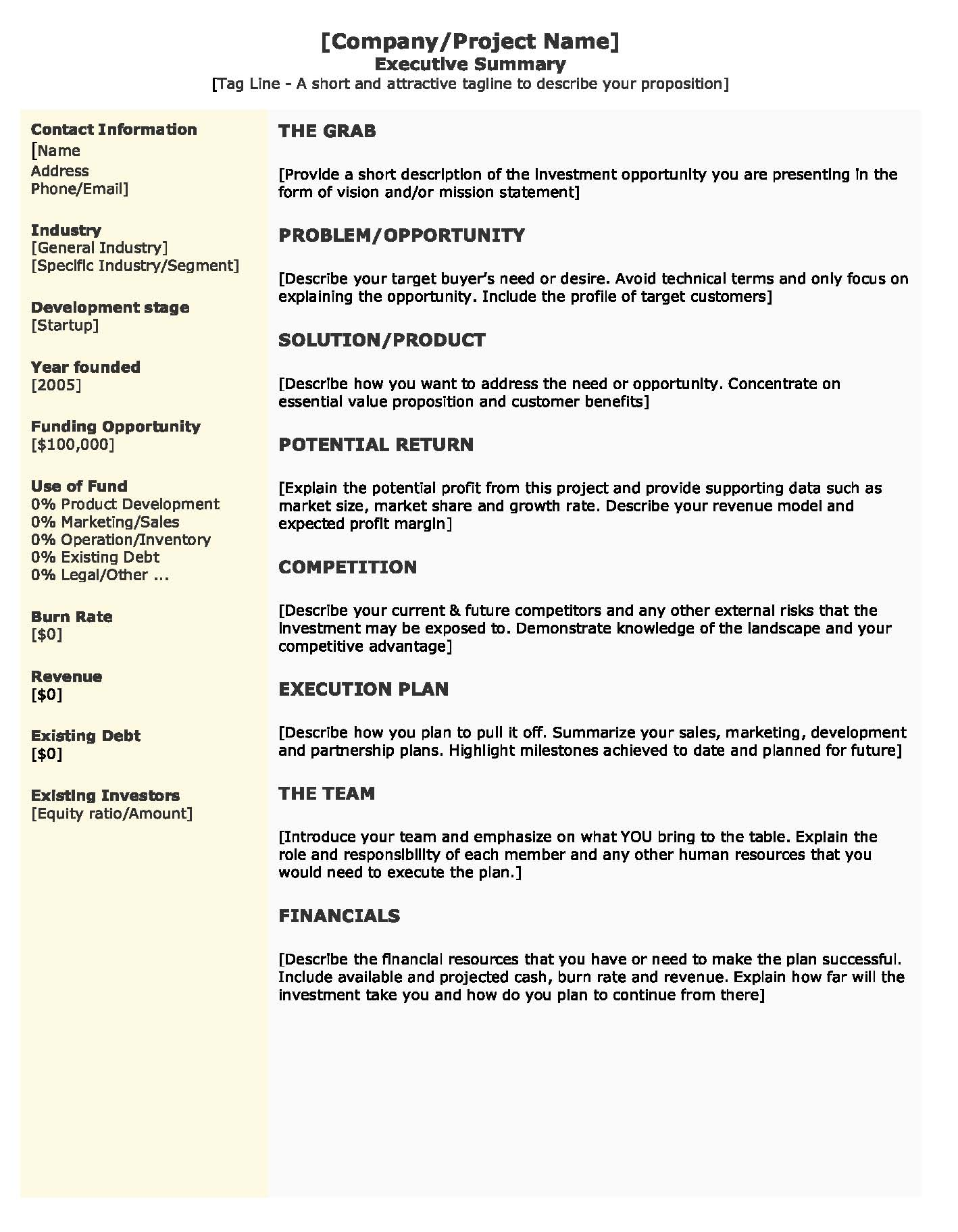 How To Write An Effective Executive Summary Resume Executive – Executive Summary Template Free